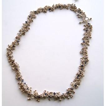 Silver & Sapphire Twist Necklace