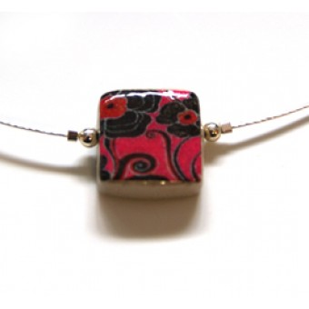Ceramic Square Necklace - Pink Floral