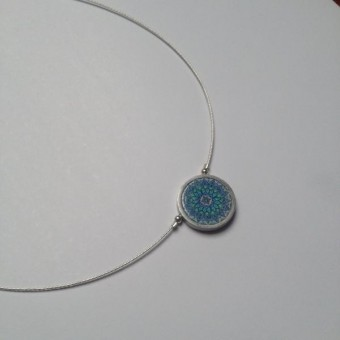 Single Circular Necklace - Turquoise Paisley