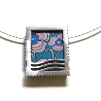 Stamp Ceramic Necklace - Blue Flora
