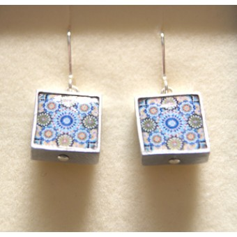 Ceramic Earrings - Blue Paisley