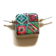 Ceramic Square Necklace - Pink Flowers