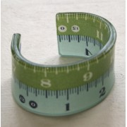 Green & Duck Egg Blue Double Tape Measure Cuff