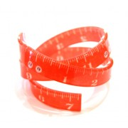 Tape Measure Wrap Bangle - Coral Red