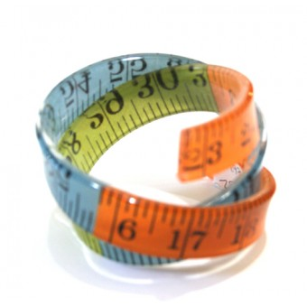 Stripe Tape Measure Wrap Bangle