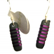 Medium Thin Rectangle Drop Earrings - Purple
