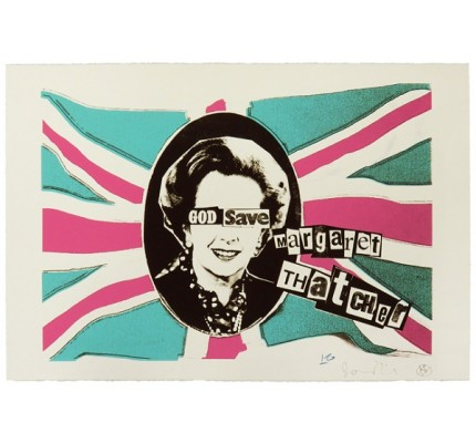 God Save Margaret Thatcher - pink turquoise colourway - Framed