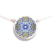 Single Circular Necklace - Blue & Green Paisley