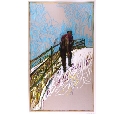 Man Walking up a snowy Slope (Framed)
